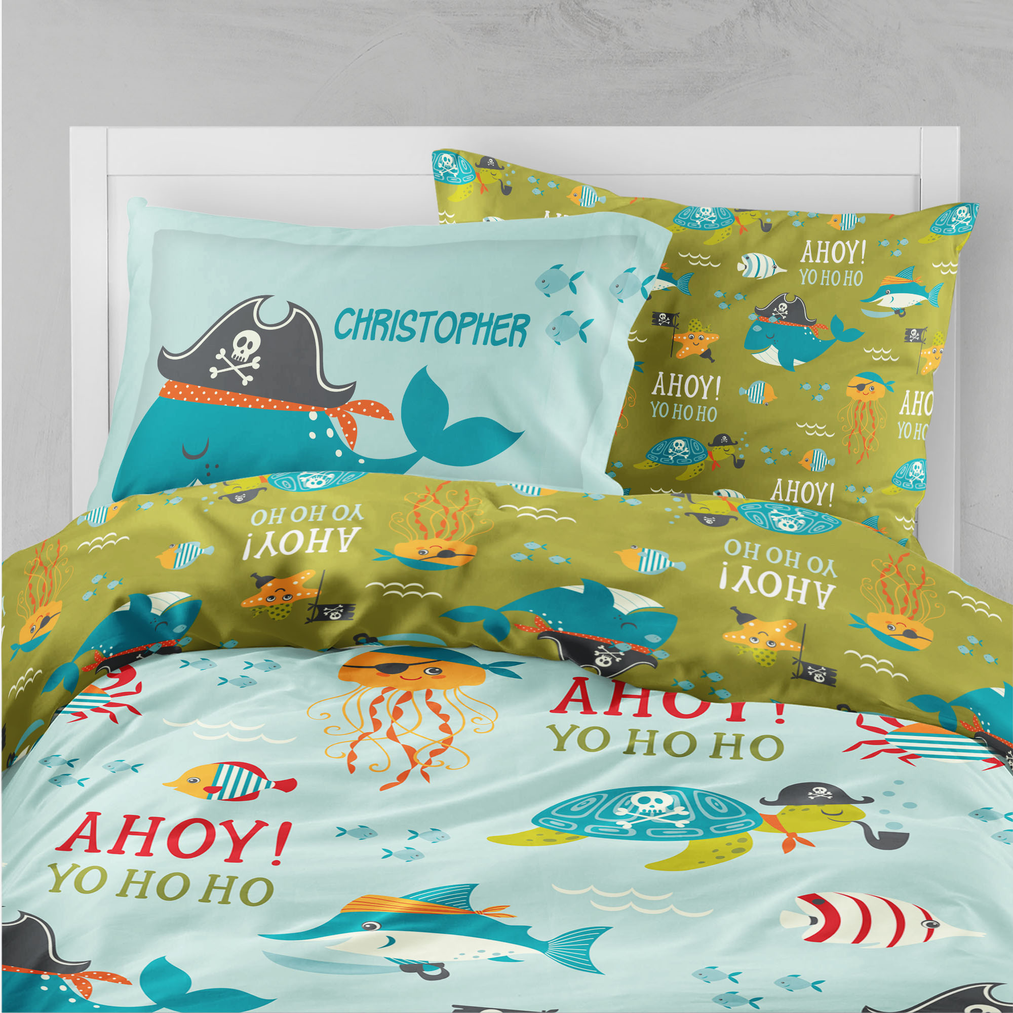 PKBED-00006-PirateAdventure Ahoy Matey Pirate Adventures Kids Beddding Collection Bedroom Set by Pickleberry Kids