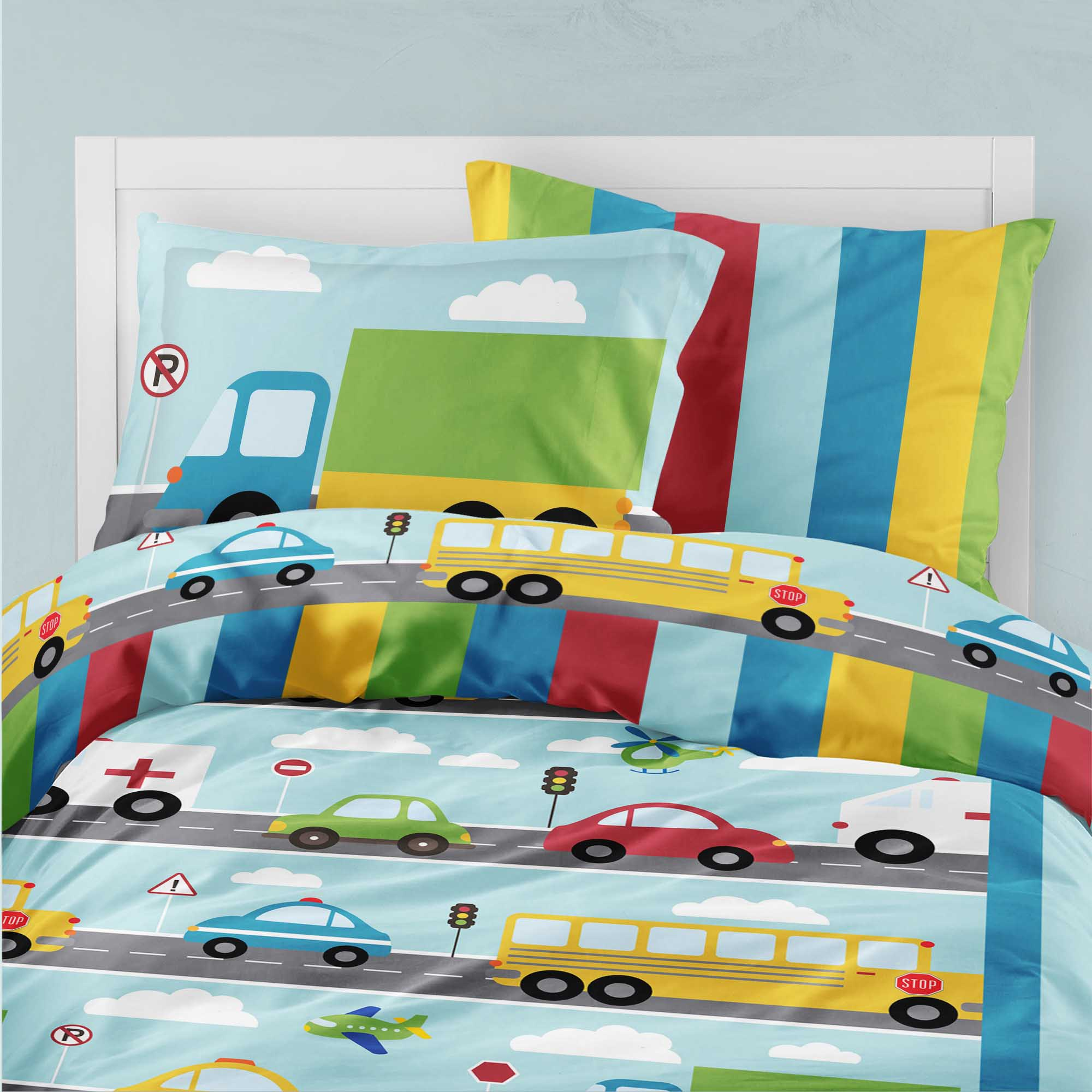 PKBED00020-ThingsThatGoVroom Things That Go Vroom Transportation Cars Truck Theme Bedding Kids Bedroom Set by Pickleberry Kids
