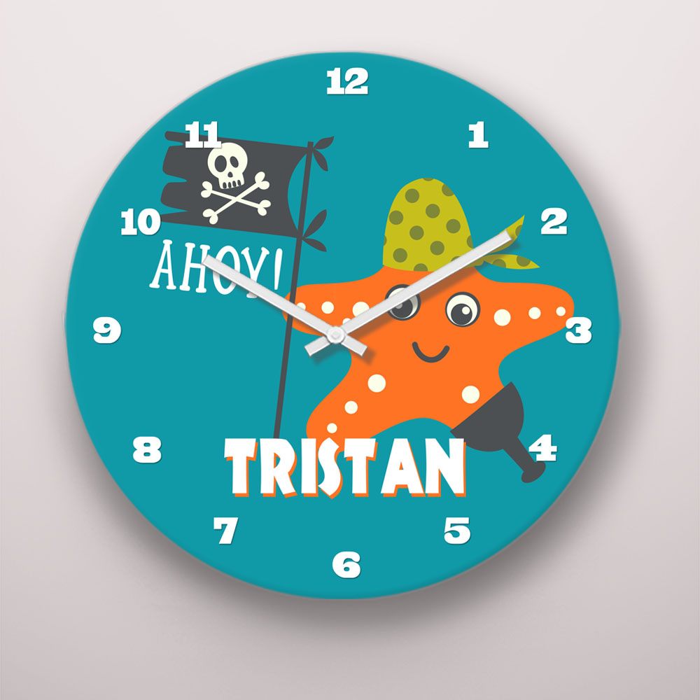 PKCLOCK-00006-PirateAdventure Ahoy Matey Pirate Adventures Personalized Kids Wall Clock by Pickleberry Kids