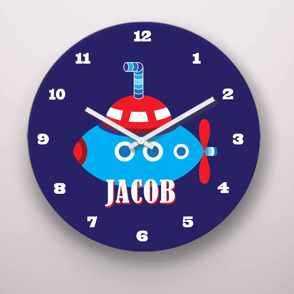 PKCLOCK-00009-OceanAdventures Ocean Adventures Submarine Personalized Kids Wall Clock by Pickleberry Kids