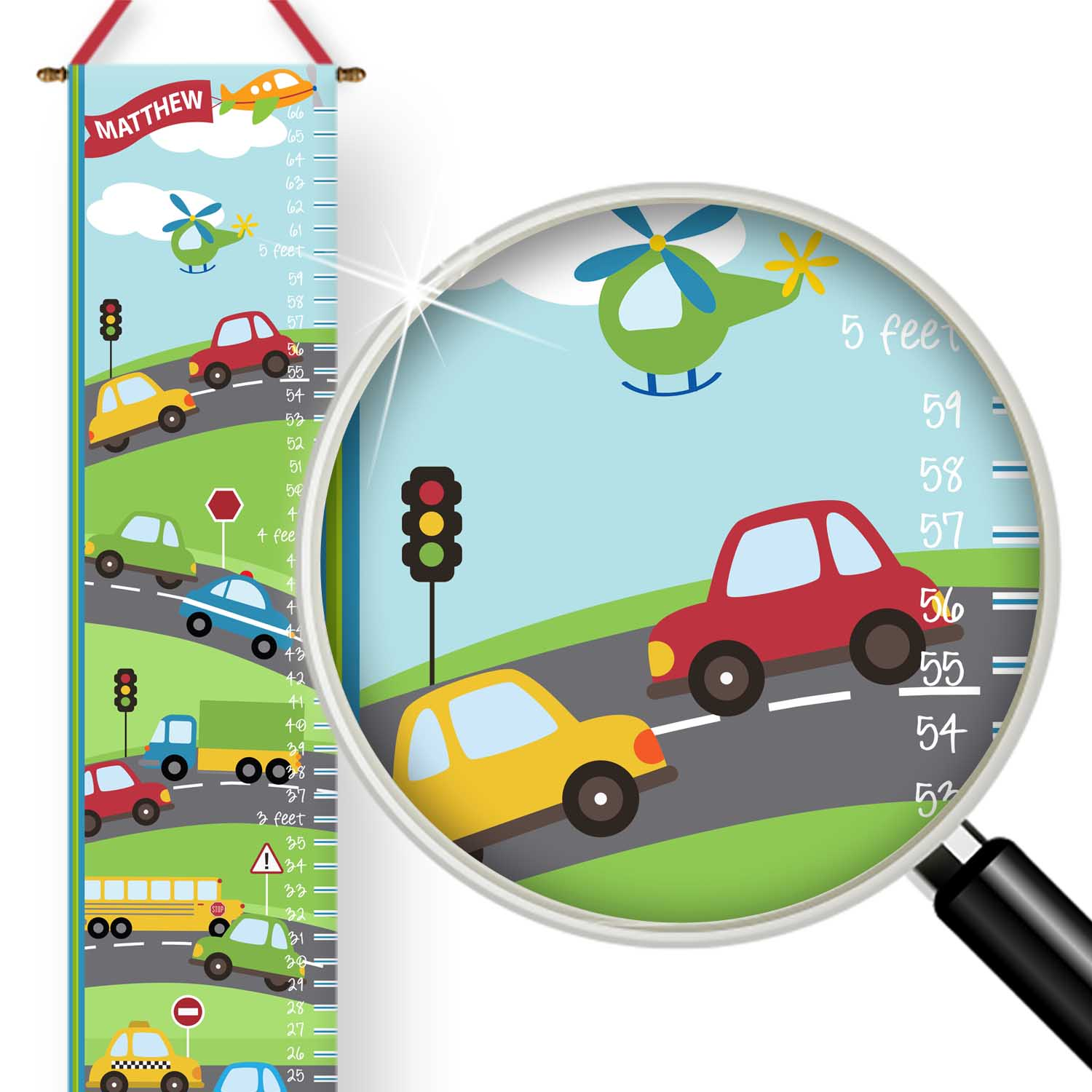 PKGC-00020-ThingsThatGoVroom-GROWTH CHART Things That Go Vroom Transportation Cars Truck Theme Boys Personalized Kids Growth Chart by Pickleberry Kids