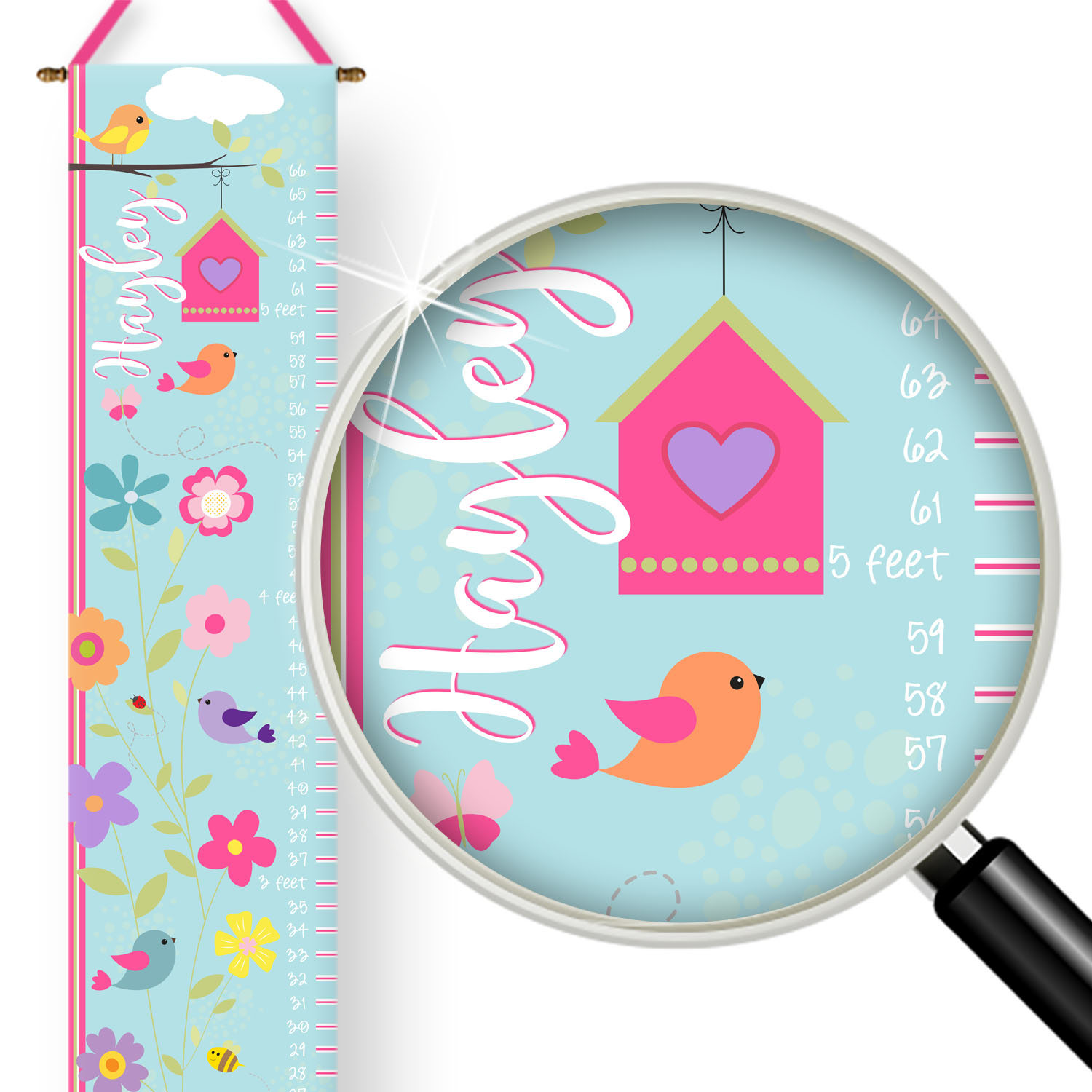 PKGC-00021-TweetDreams-GROWTH CHART Tweet Dreams Little Birdies Girls Personalized Kids Growth Chart by Pickleberry Kids