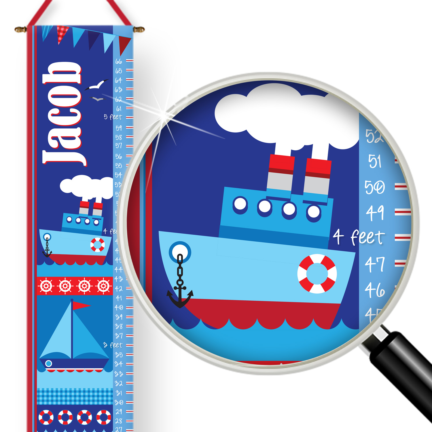 PKGC00008-OceanAdventures Ocean Adventures Personalized Kids Growth Chart by Pickleberry Kids