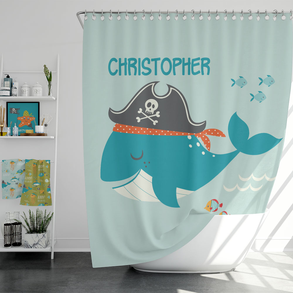 Ahoy Matey Pirate Adventure Kids Personalized Shower Curtain Pickleberry Kids