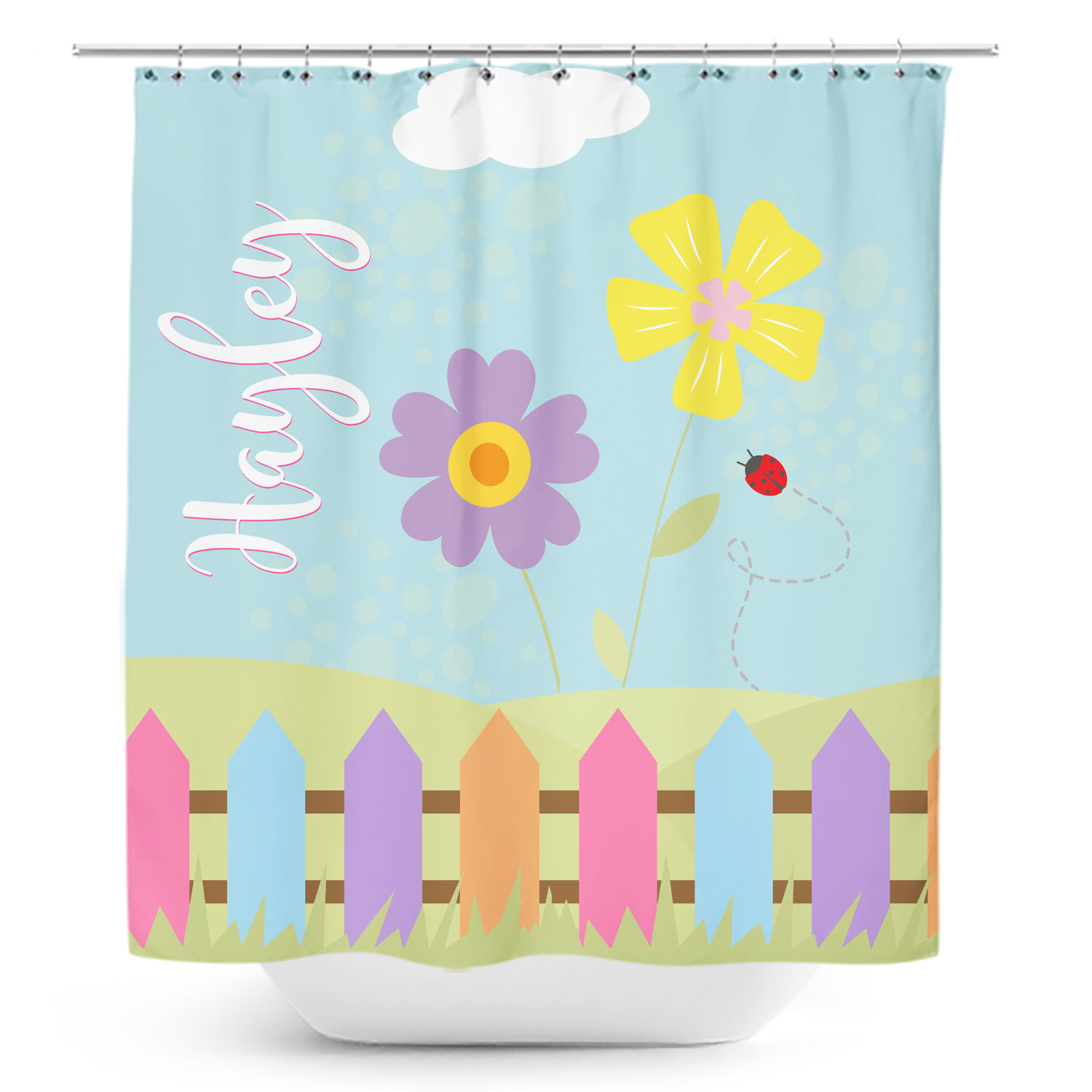 PKSC000021-TweetDreams-SHOWERCURTAIN Tweet Dreams Little Birdies Girls Personalized Kids Bathroom Shower Curtain by Pickleberry Kids