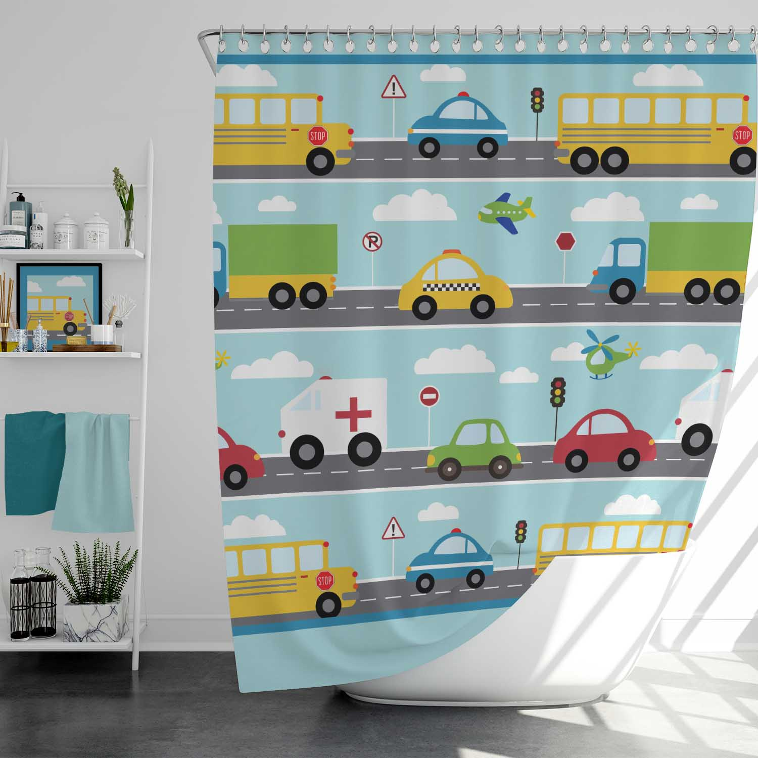 PKSC00020-ThingsThatGoVroom-SHOWER CURTAIN Things That Go Vroom Transportation Cars Theme Kids Bathroom Shower Curtain by Pickleberry Kids