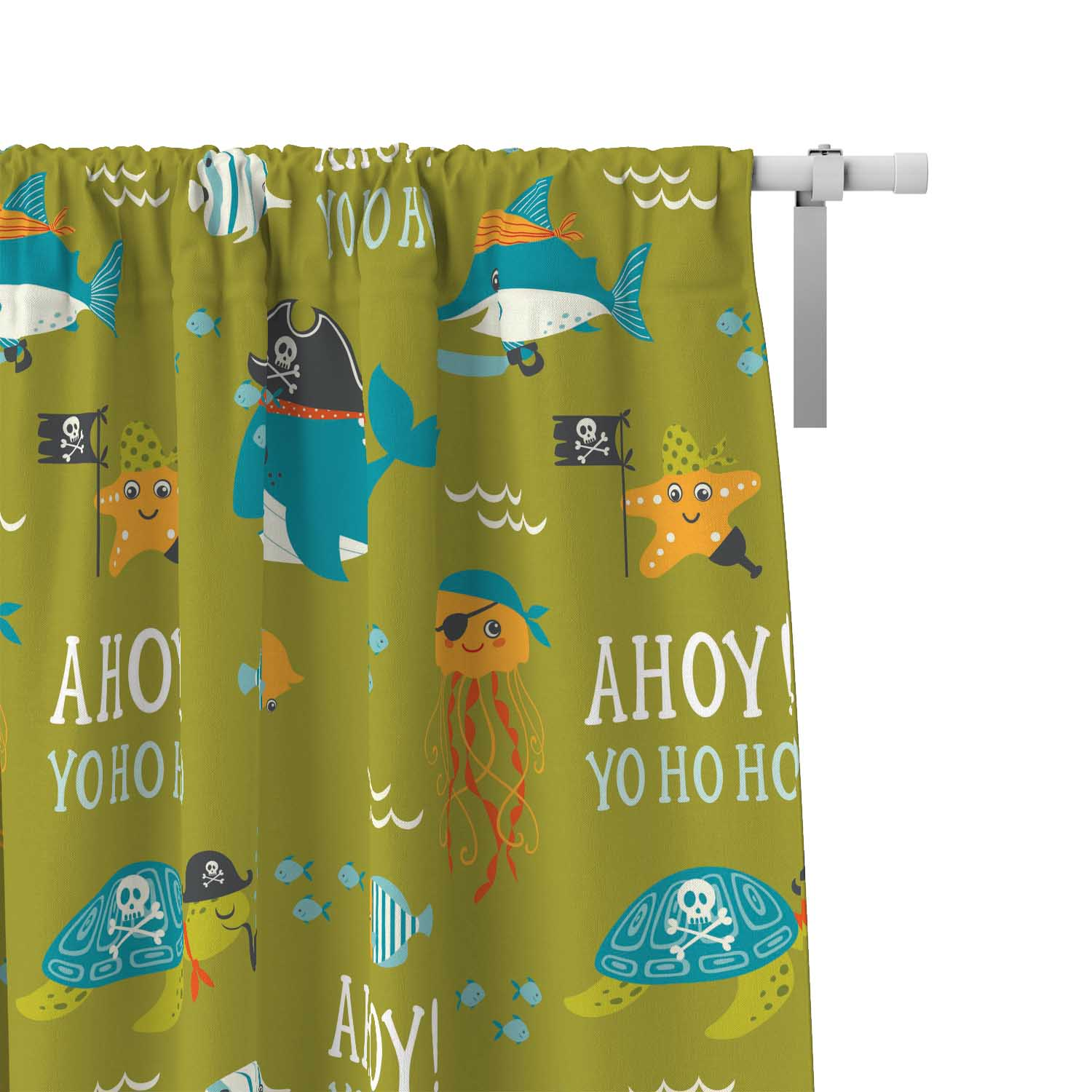 PKWC00006-AhoyMateyPirateAdventure-CURTAINS Ahoy Matey Pirate Adventure Kids Colorful Window Curtains Decor Accesories by Pickleberry Kids