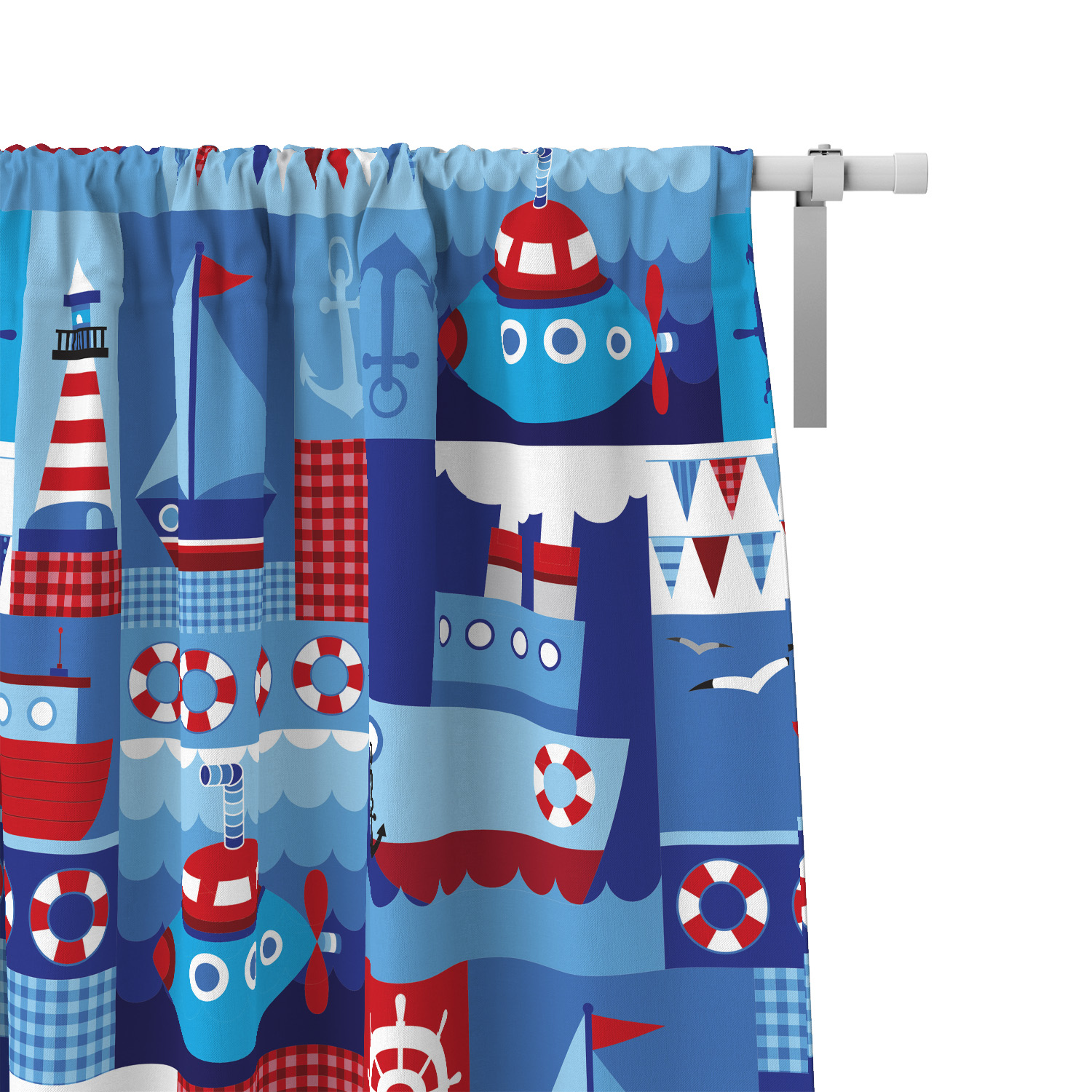 PKWC00008-OceanAdventures-CURTAINS Boys Kids Colorful Window Curtains Decor Accesories by Pickleberry Kids