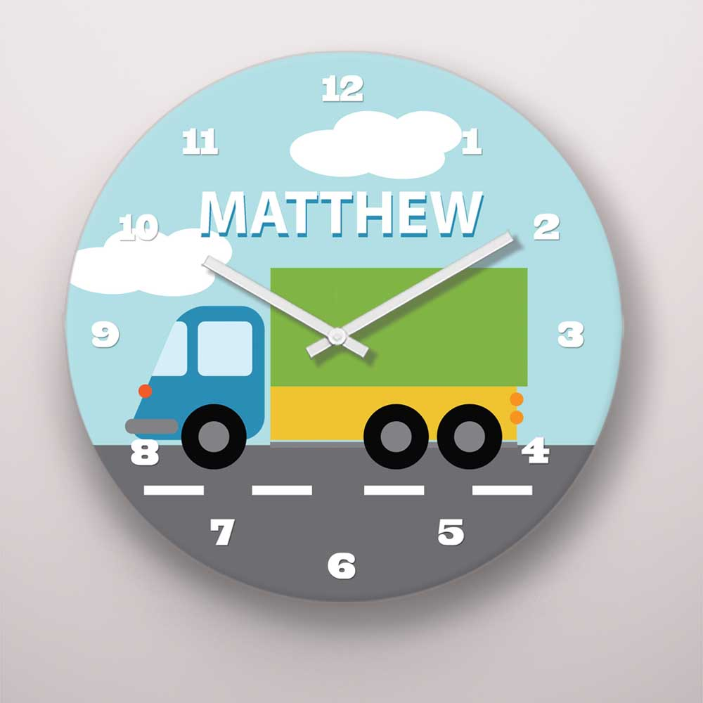 PKWC00020-ThingsThatGoVroom-8-INCH CLOCK Things That Go Vroom Cars Trucks Transportation Boys Theme Personalized Kids Wall Clock by Pickleberry Kids
