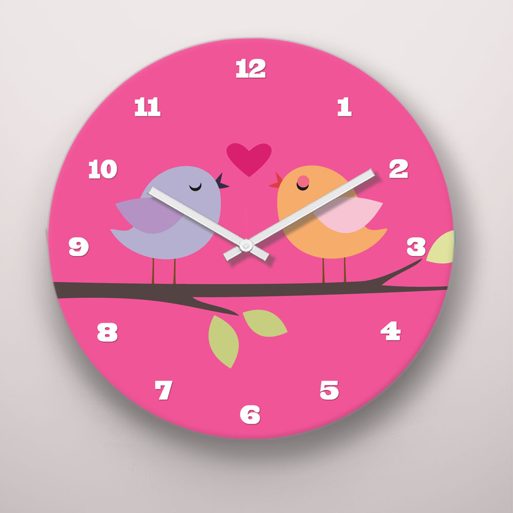 PKWC00021-TweetDreams-8-INCH CLOCK Tweet Dreams Little Birdies Girls Personalized Kids Wall Clock by Pickleberry Kids