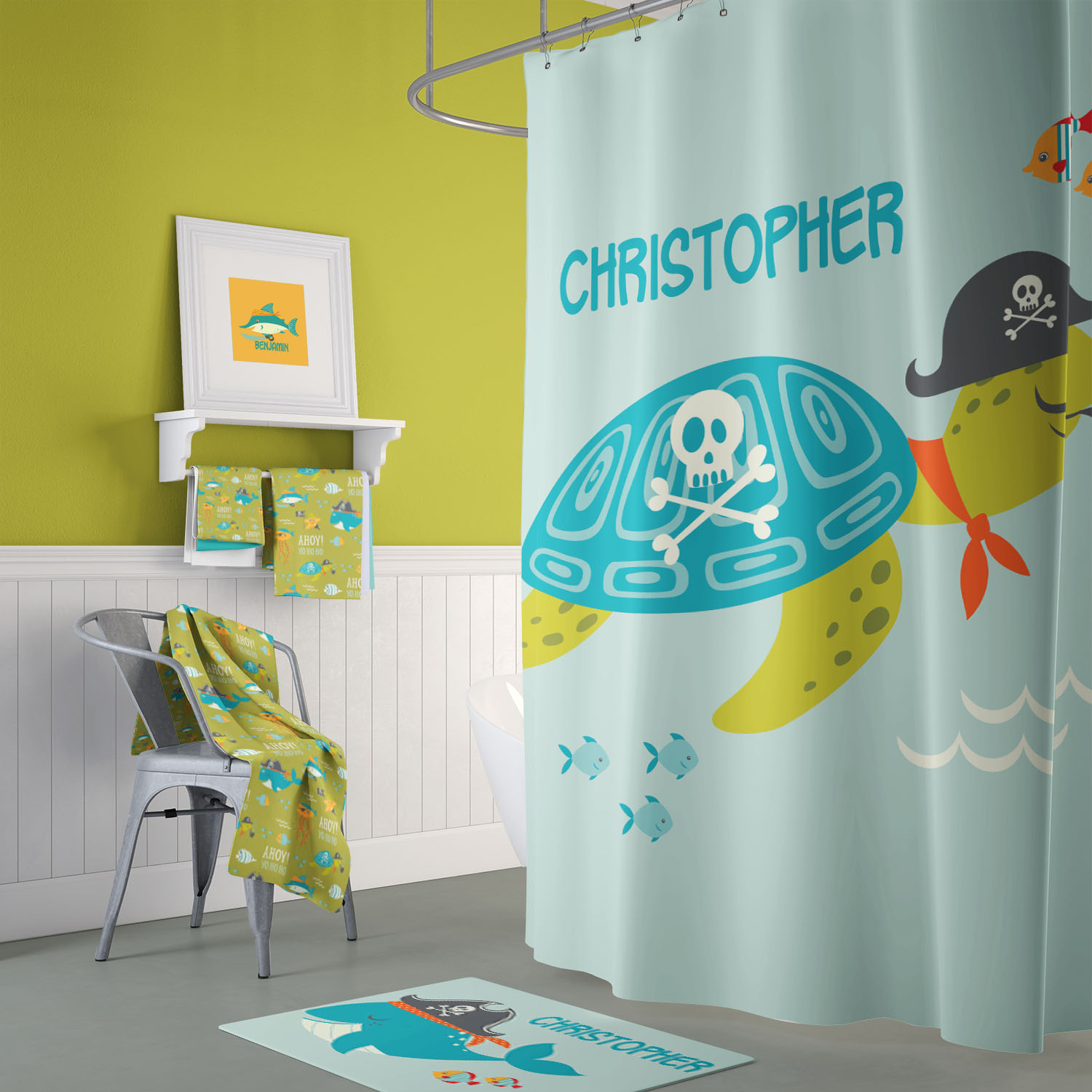 Ahoy Matey Pirate Adventure Kids Bathroom Accessories Shower Curtain Bath Mat Towels Decor by Pickleberry Kids