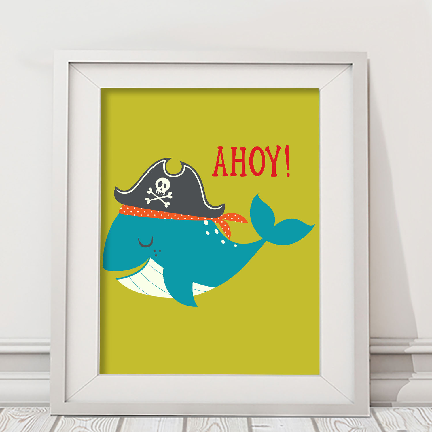 PK11X1400006-AhoyMateyPirateAdventure-WALLART11X14-2 Whale Ahoy Matey! Pirate Adventures Boys Kids Wall Art Prints Room Decor Accessories by Pickleberry Kids