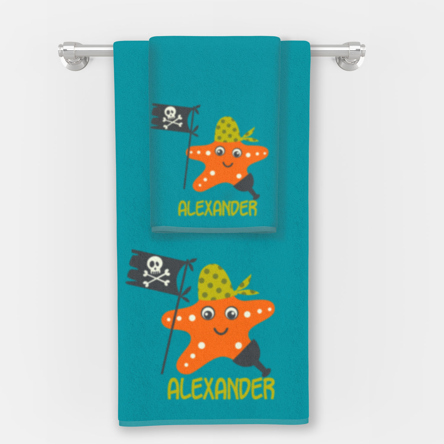 PKBT-00006-PirateAdventure-BATHTOWEL6 Ahoy Matey Pirate Adventure Bath Shower Bathroom Towels by Pickleberry Kids
