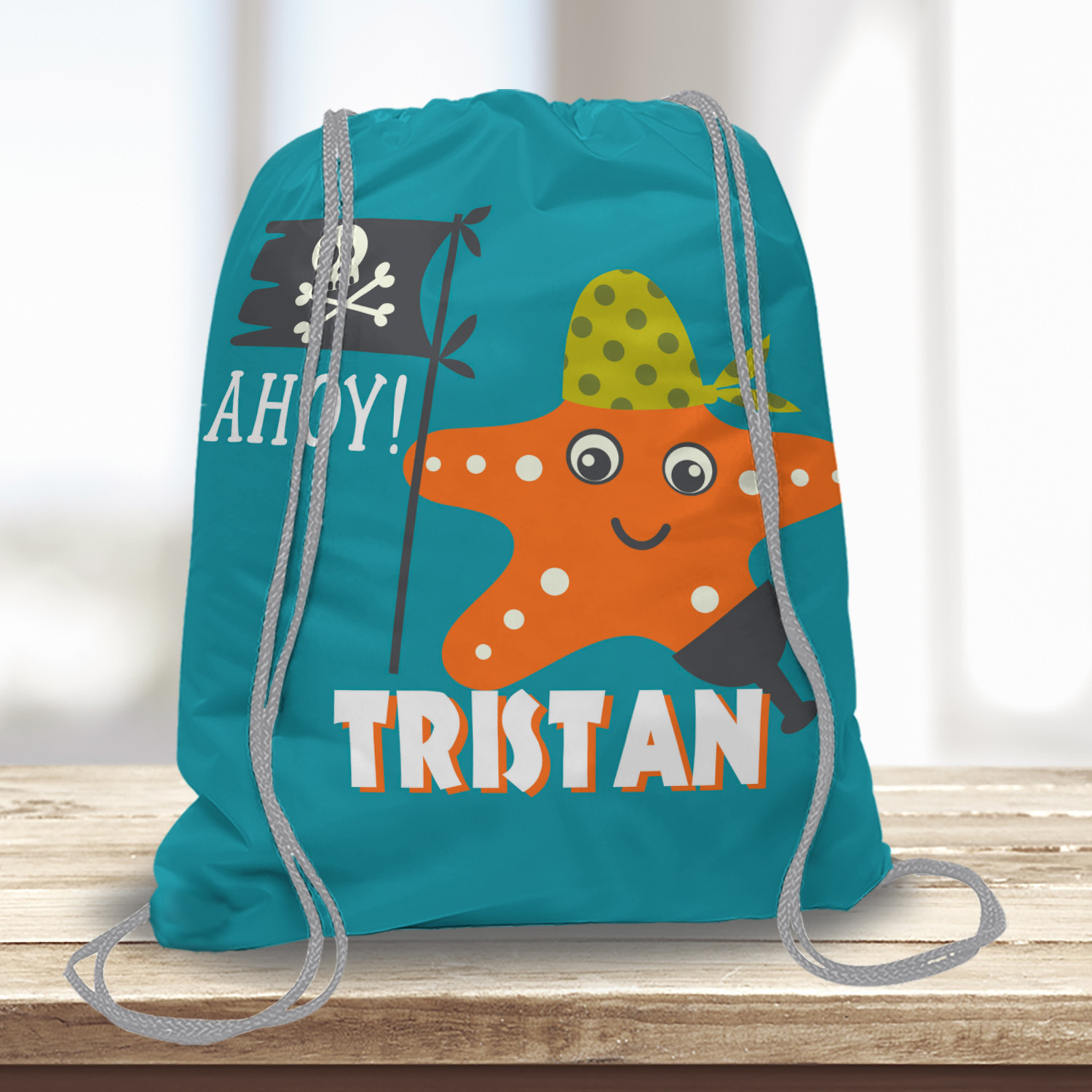 PKDST-00006-AhoyMateyPirateAdventure-DRAWSTRINGTOTEa Ahoy Matey! Pirate Adventure Kids Drawstring Tote Bag Backpack for Camp School Beach Sports Travel by Pickleberry Kids