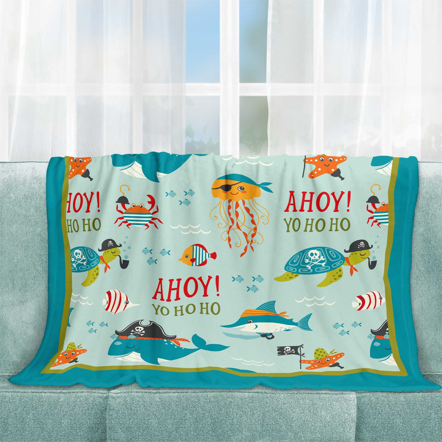 PKFLBL00006-AhoyMateyPirateAdventure-FLEECEBLANKET50x60 Ahoy Matey! Pirate Adventure Boys Kids Minky Fleece Throw Blanket Room Decor Accesories by Pickleberry Kids