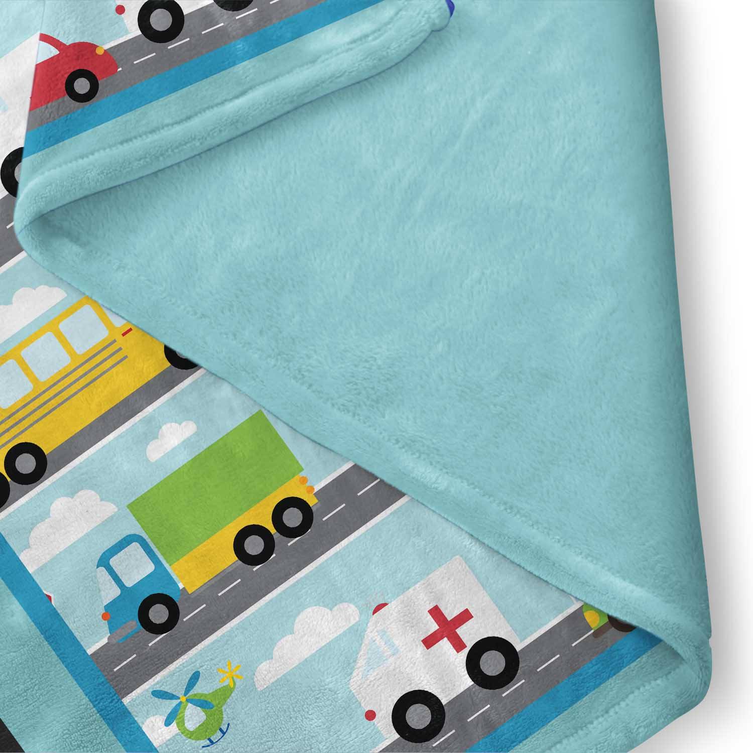 PKFLBL00020-ThingsThatGoVroom-FLEECEBLANKET50x60 Things That Go Vroom Transportation Theme Boys Kids Minky Fleece Throw Blanket Room Decor Accesories by Pickleberry Kids