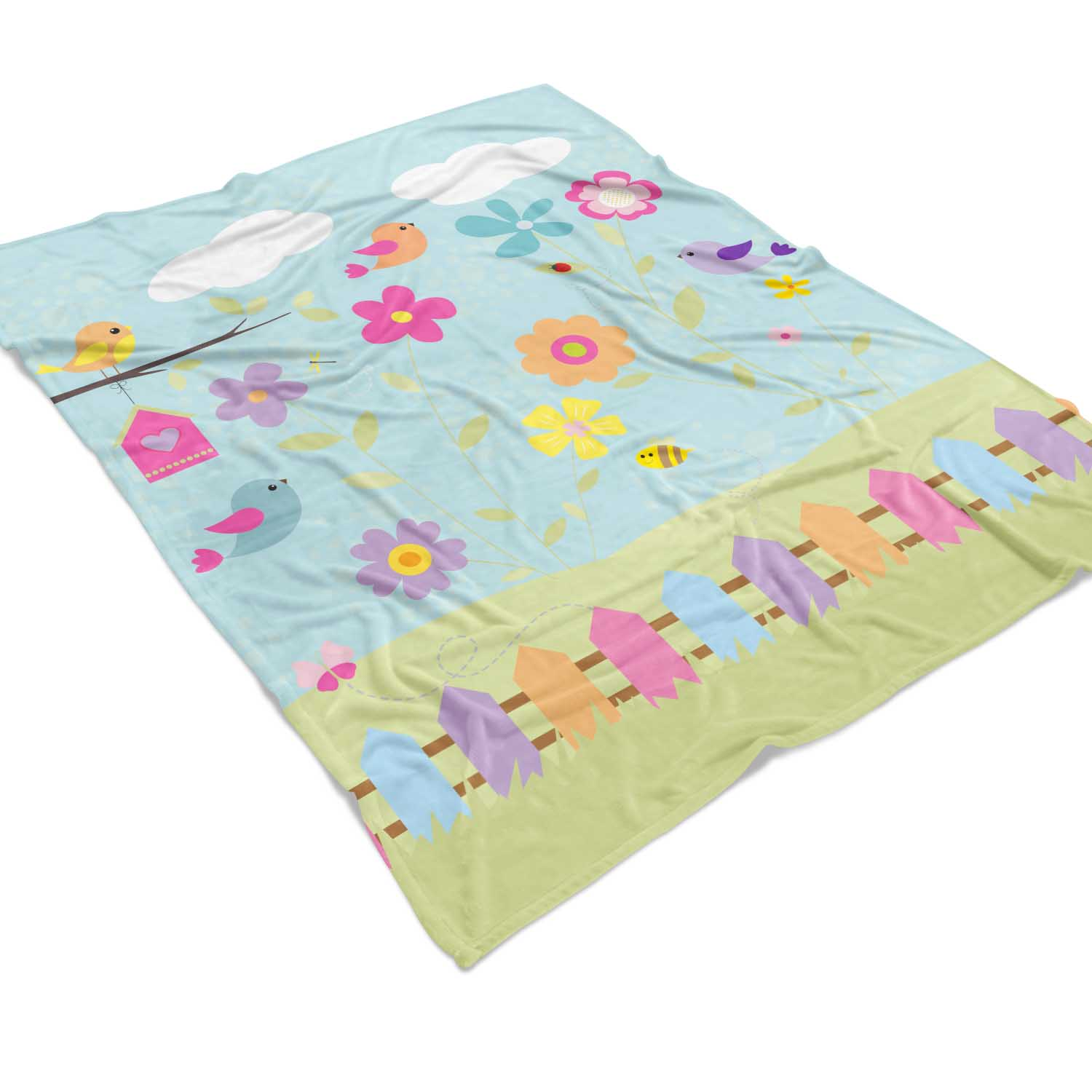 PKFLBL00021-TweetDreams-FLEECEBLANKET50x60 Tweet Dreams Little Birdies Girls Kids Minky Fleece Throw Blanket Room Decor Accesories by Pickleberry Kids