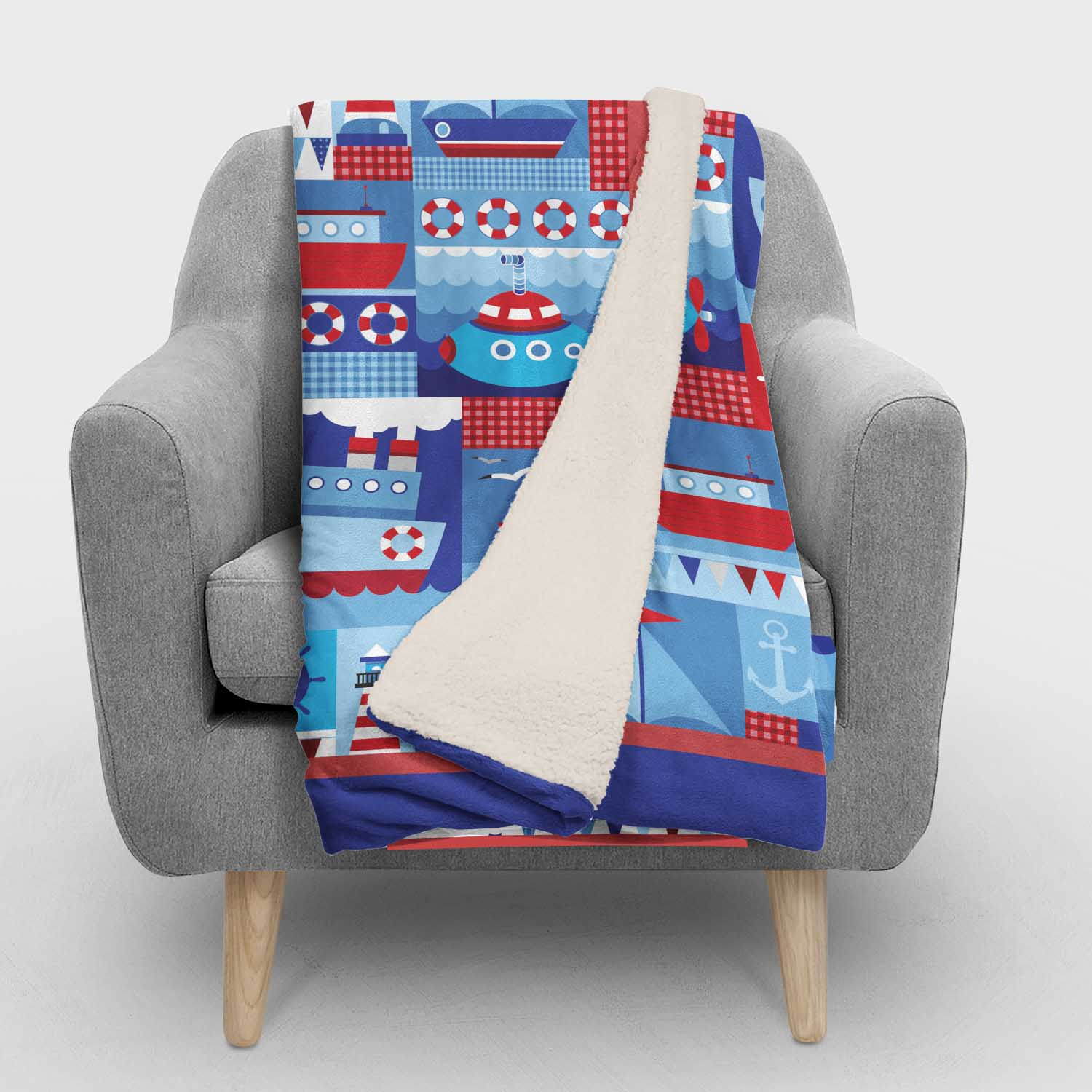 PKSHER00008-OceanAdventuresNautical-SHERPABLANKET50x60 Ocean Adventures Nautical Boats Theme Boys Kids Minky Fleece Sherpa Backed Throw Blanket Room Decor Accessories by Pickleberry Kids