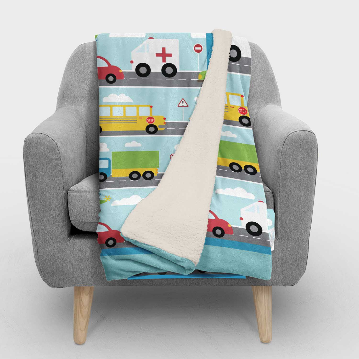 PKSHER00020-ThingsThatGoVroom-SHERPABLANKET50x60 Things That Go Vroom Transportation Boys Kids Minky Fleece Sherpa Backed Throw Blanket Room Decor Accessories by Pickleberry Kids