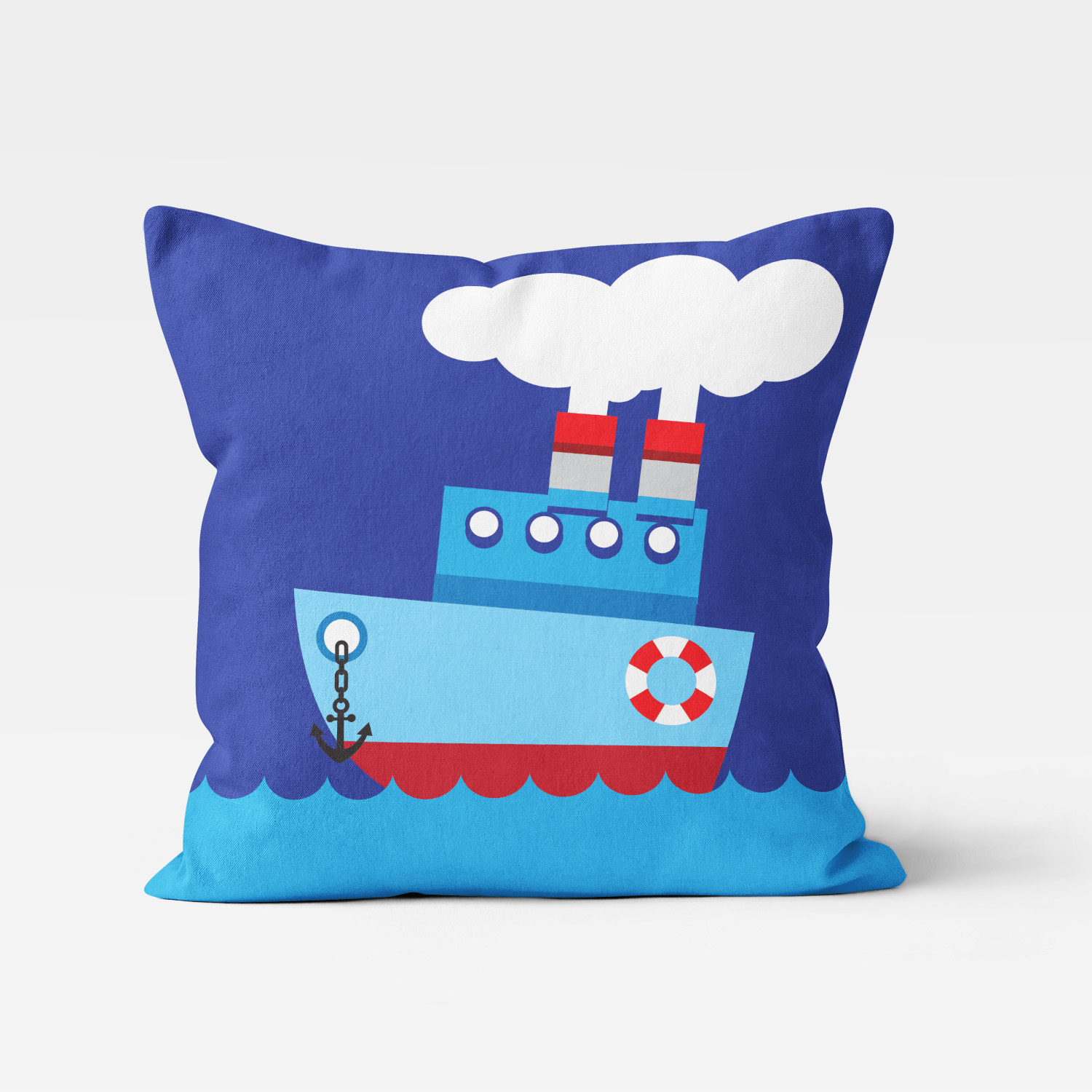 PKTP-00008-OceanAdventures-THROWPILLOW Ocean Adventures Nautical Theme Tug Boat Boys Kids Accent Throw Pillow Room Decor Accessories by Pickleberry Kids