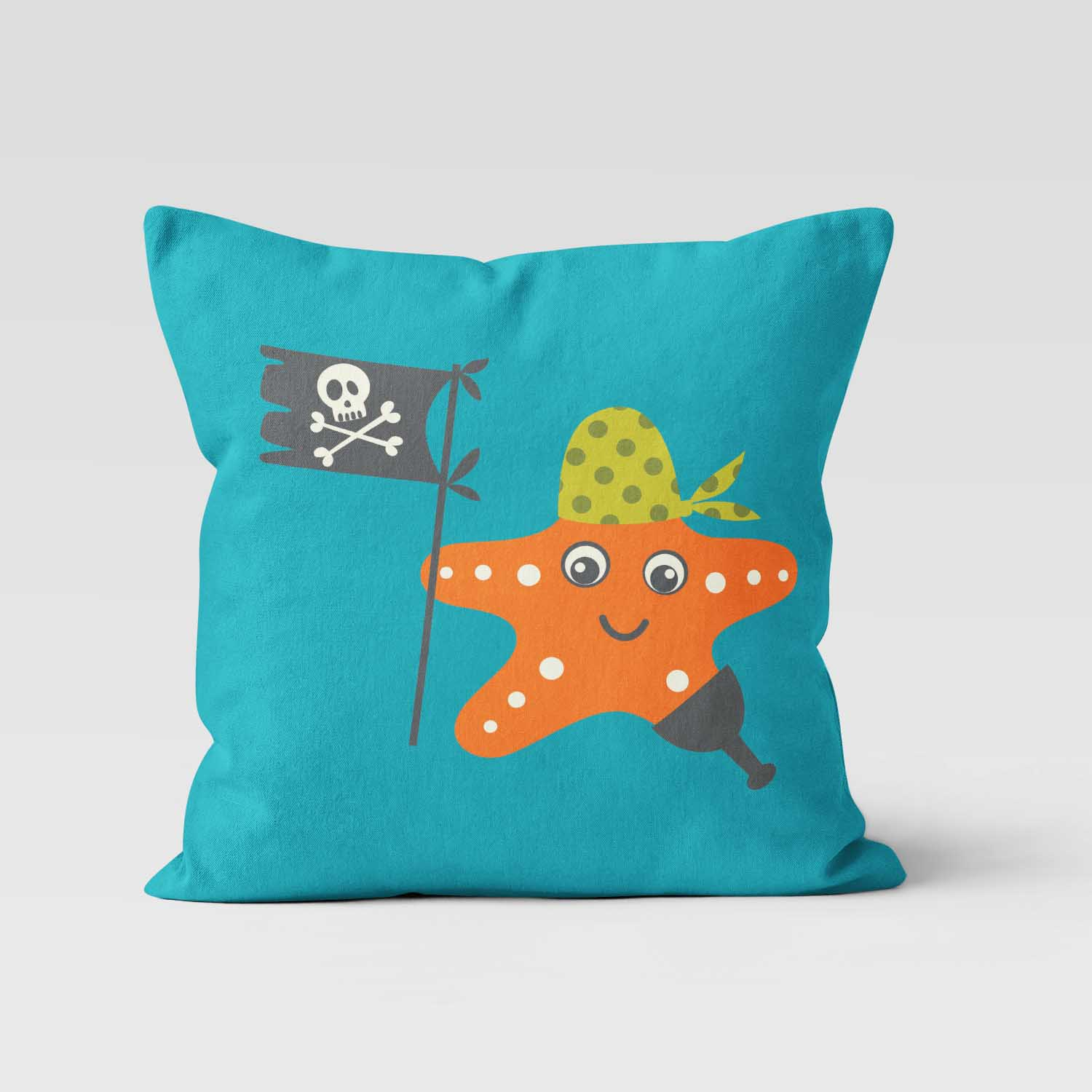 PKTP00006-AhoyMateyPirateAdventure-PILLOW1 Ahoy Matey! Pirate Adventure Starfish Boys Kids Accent Throw Pillow Room Decor Accessories by Pickleberry Kids