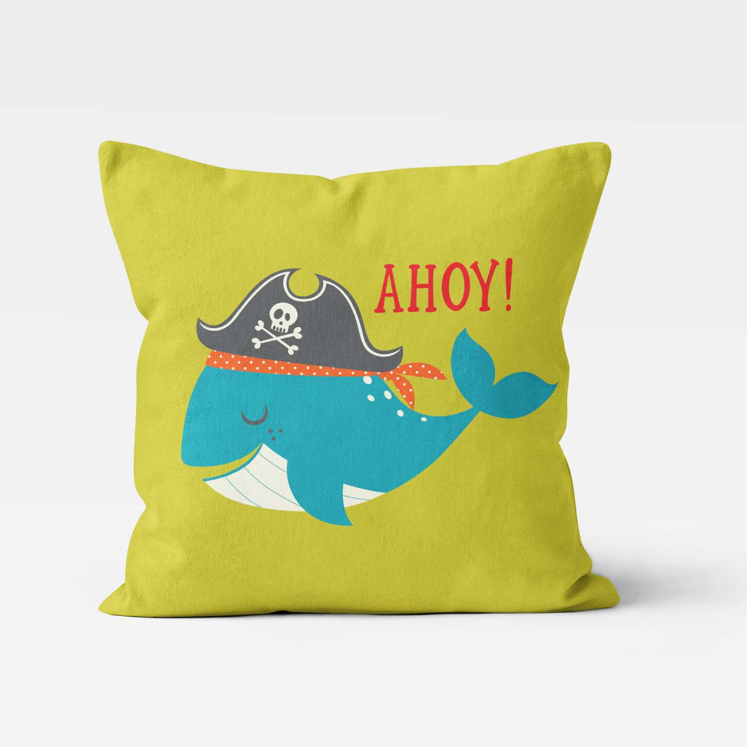 PKTP00006-AhoyMateyPirateAdventure-PILLOW3 Ahoy Matey! Pirate Adventure Whale Boys Kids Accent Throw Pillow Room Decor Accessories by Pickleberry Kids