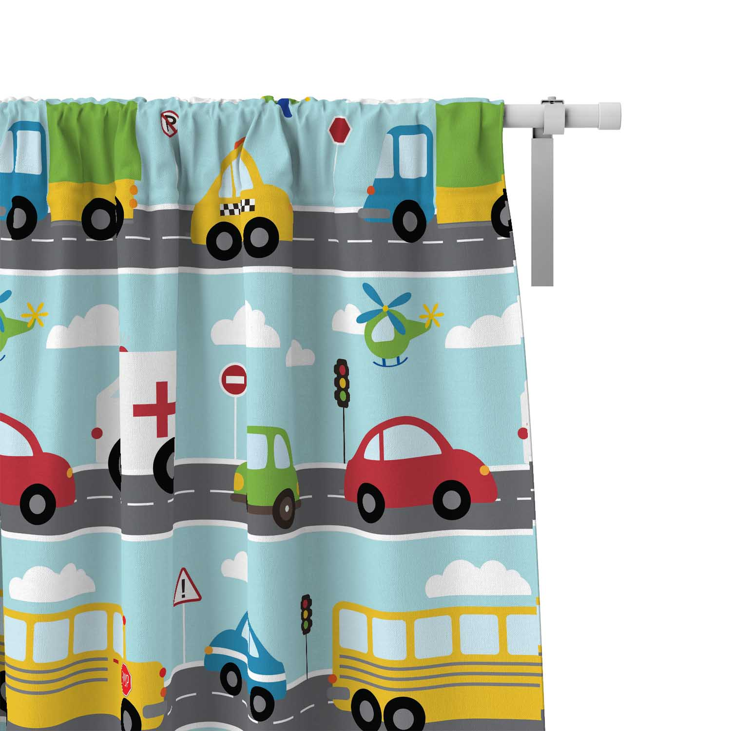 PKWC00020-ThingsThatGoVroom-CURTAINS-50x84 Boys Kids Colorful Window Curtains Decor Accesories by Pickleberry Kids