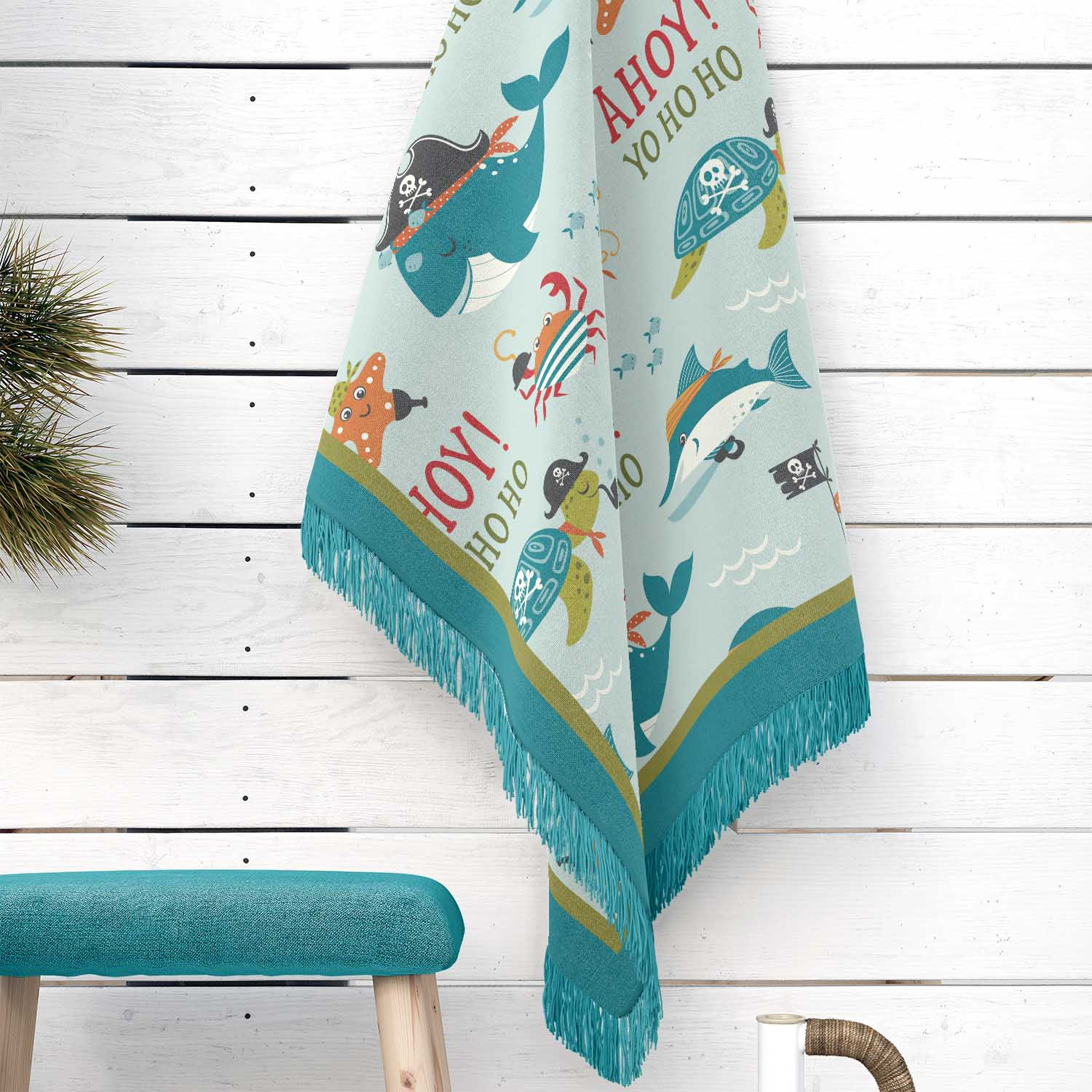 PKWOV00006-AhoyMateyPirateAdventure-WOVENBLANKET50x60 Ahoy Matey! Pirate Adventure Boys Kids Woven Cotton Throw Blanket Room Decor Accesories by Pickleberry Kids