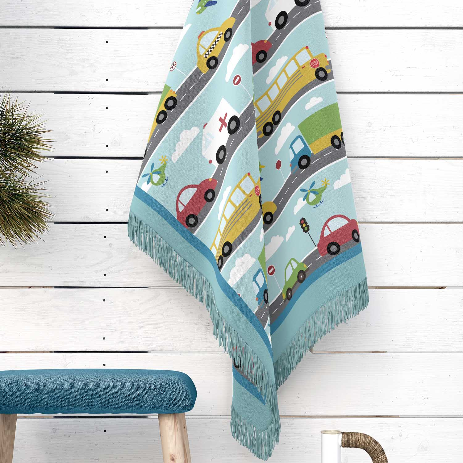 PKWOV00020-ThingsThatGoVroom-WOVENBLANKET50x60 Things That Go Vroom Transportation Theme Boys Kids Woven Cotton Throw Blanket Room Decor Accesories by Pickleberry Kids