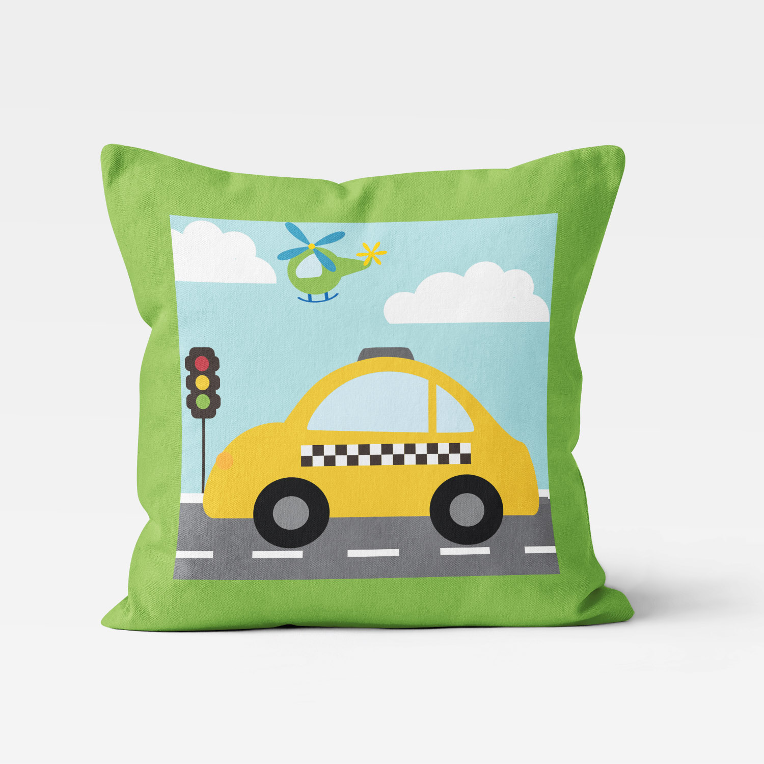 TTGV-PIL18X18-A Things That Go Vroom Transportation Theme Taxi Cab Boys Kids Accent Throw Pillow Room Decor Accessories by Pickleberry Kids