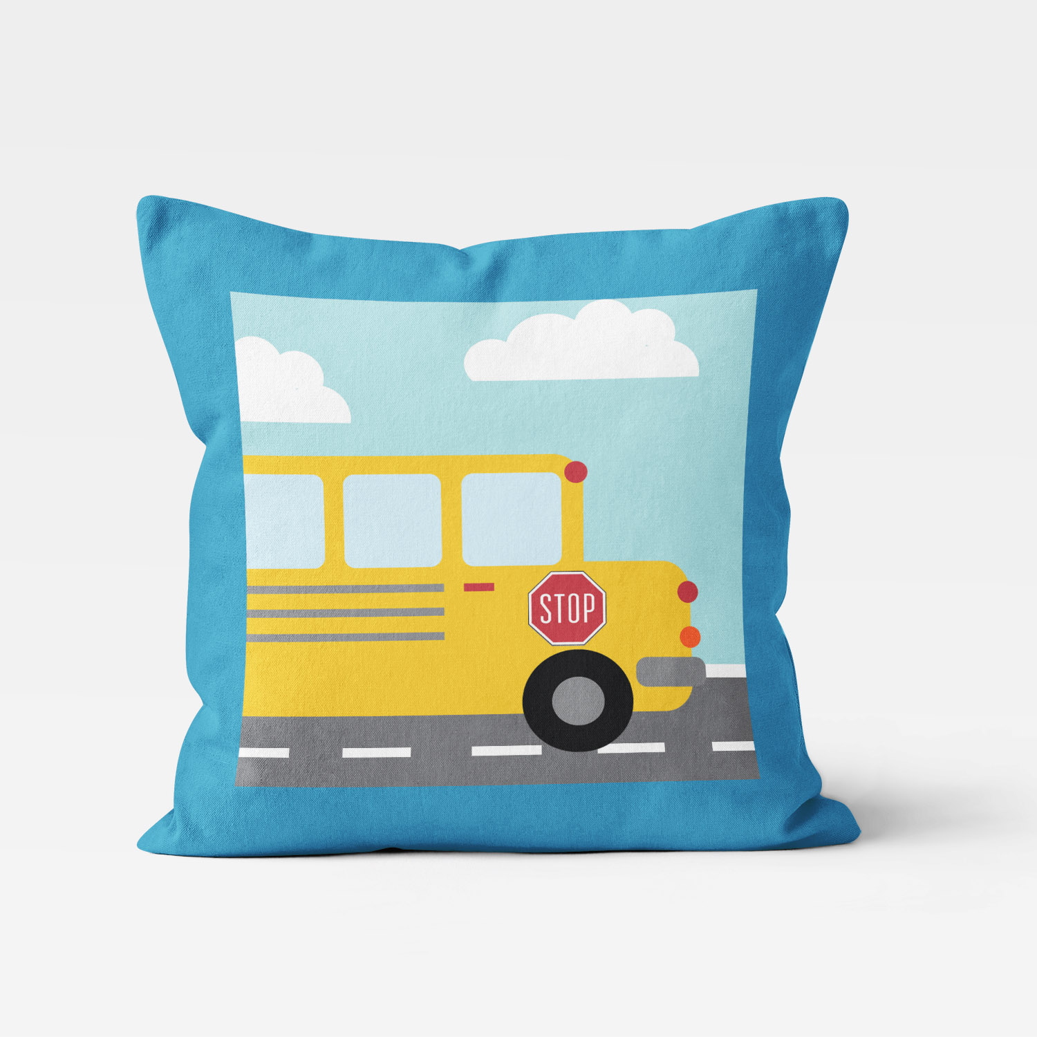 TTGV-PIL18X18-D TTGV-PIL18X18-A Things That Go Vroom Transportation Theme School Bus Boys Kids Accent Throw Pillow Room Decor Accessories by Pickleberry Kids