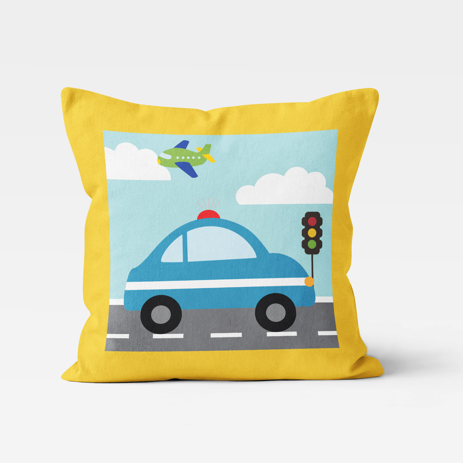 TTGV-PIL18X18-D TTGV-PIL18X18-A Things That Go Vroom Transportation Theme Police Car Boys Kids Accent Throw Pillow Room Decor Accessories by Pickleberry Kids
