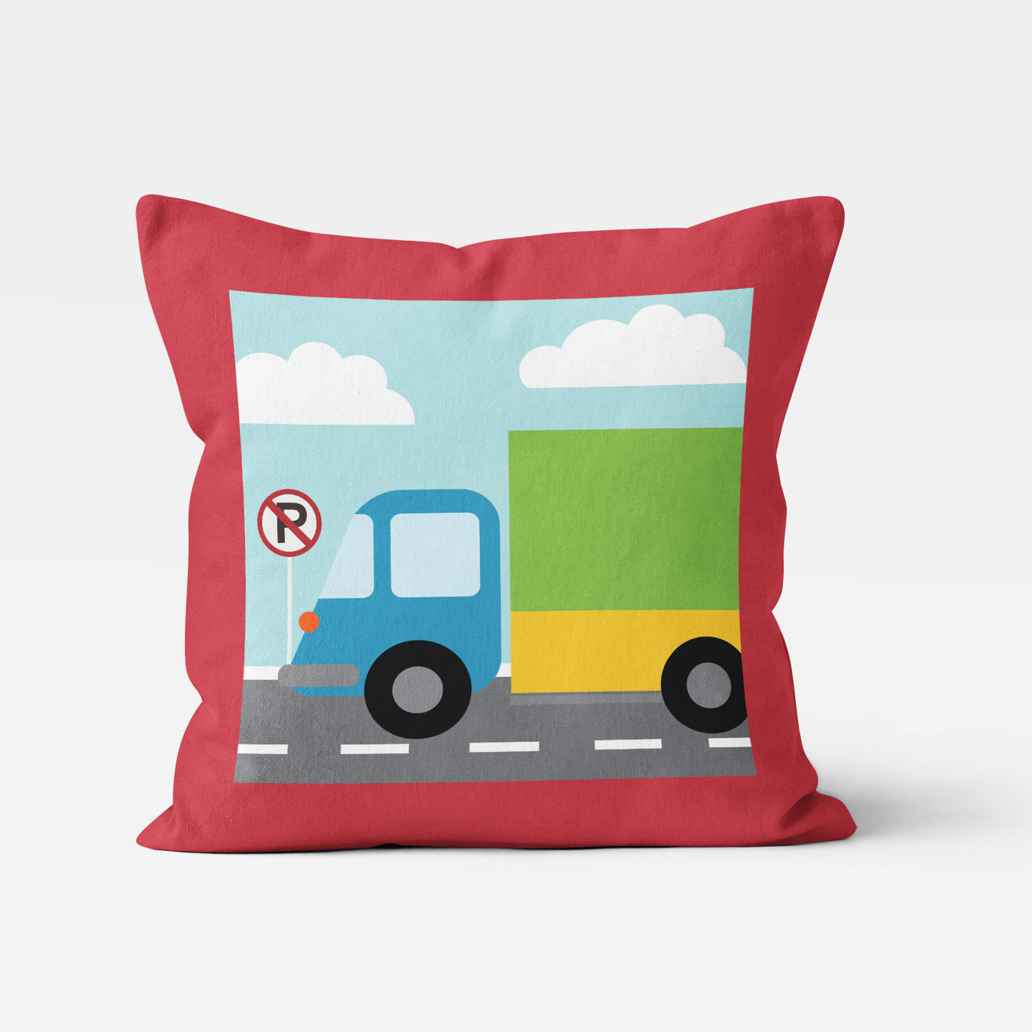 TTGV-PIL18X18-D TTGV-PIL18X18-A Things That Go Vroom Transportation Theme Truck Boys Kids Accent Throw Pillow Room Decor Accessories by Pickleberry Kids